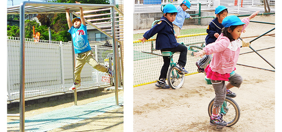 遊具を使い遊ぶ園児たち